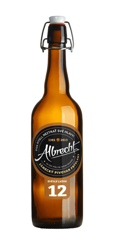 albrecht 12 lager czech beer bottle