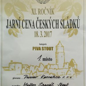 Award of czech brewers_1st place for MUFLON spec.stout 2017